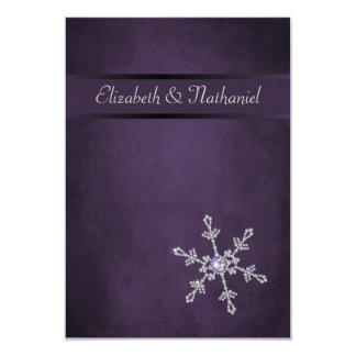 Faux Diamond Snowflake & Ribbon Reception Card 9 Cm X 13 Cm Invitation Card