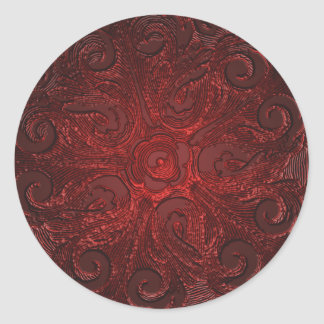 Faux Embossed Look Ornate Seal, Red Classic Round Sticker