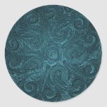 Faux Embossed Look Ornate Seal, Teal Round Stickers