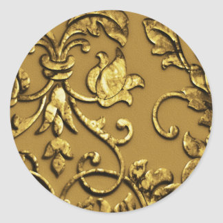 Faux Embossed  Metallic Damask, Gold Round Sticker