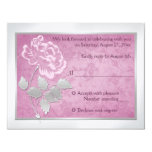 FAUX Embossed Pink Peony on Silver Reply Card 11 Cm X 14 Cm Invitation Card