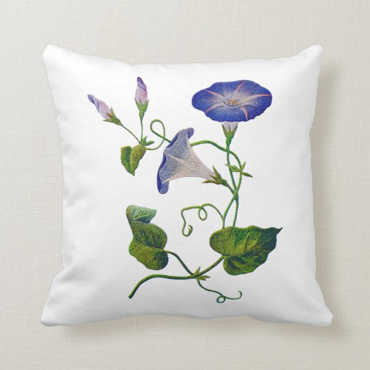 Faux Embroidered Blue Morning Glory Pillow