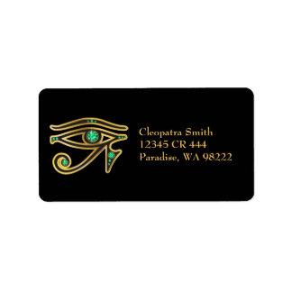 Faux-Emerald Eye of Ra in Gold Address Label