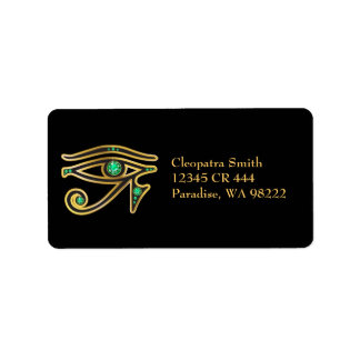 Faux-Emerald Eye of Ra in Gold Label