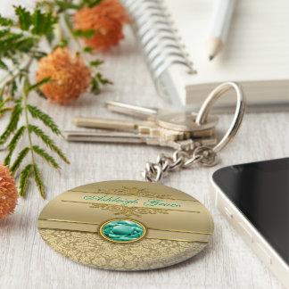 Faux Emerald Gemstone Metallic Shiny Gold Damask Key Ring