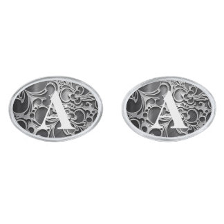 Faux Engraved Floral Metallic Silver Personalized Silver Finish Cufflinks