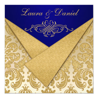 FAUX FLAPS Blue, Gold Damask Anniversary Invite