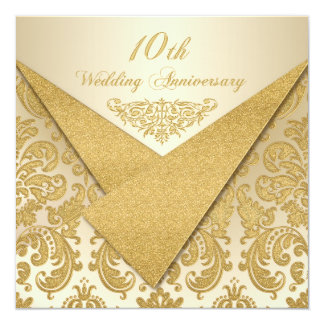 FAUX Flaps Damask 10th Anniversary Invitation