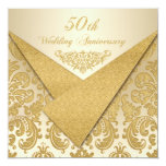 FAUX Flaps Damask 50th Anniversary Invitation