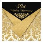 FAUX Flaps Damask 50th Anniversary Invitation 2