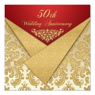 FAUX Flaps Gold Damask 50th Anniversary Invitation