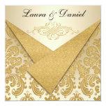 FAUX FLAPS Gold Damask Chandelier Reception Invite 13 Cm X 13 Cm Square Invitation Card