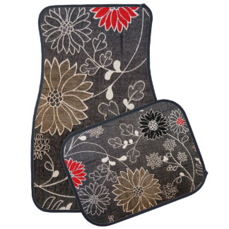 Faux floral textile with red, brown, white flowers car mat