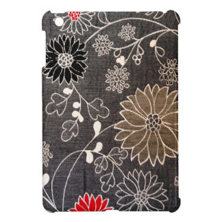 Faux floral textile with red, brown, white flowers iPad mini cover