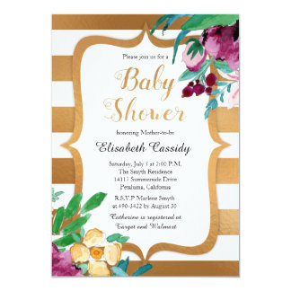 Faux Foil and Flowers Baby Shower Invites
