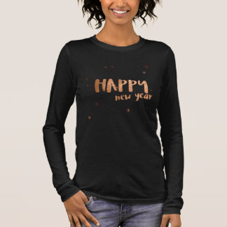 Faux Foil Happy New Year Typography Long Sleeve T-Shirt