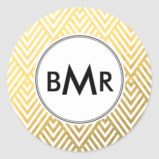 Faux Foil Monogram Sticker Chevron Argyle