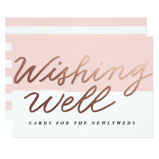 Faux Foil Scripted Wishing Well Wedding Signage Card
