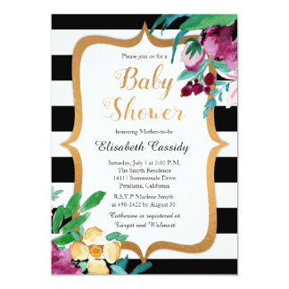 Faux Foil Watercolor Floral Baby Shower Invitation