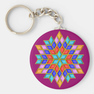 Faux Gemstone Star Quilt Key Ring