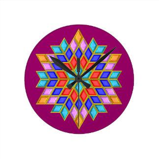 Faux Gemstone Star Quilt Round Clock