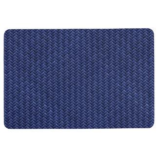 Faux Geometric Basket Weave Pattern - Navy Blue Floor Mat