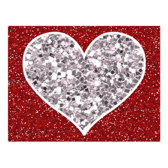 Faux Girly Red and Silver Glitter Hearts Postcard