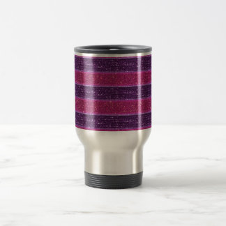 Faux Glitter and Sequin Pink and Purple Travel Mug