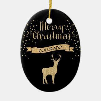 Faux Glitter Black Gold Elk Colorado Christmas Ornament