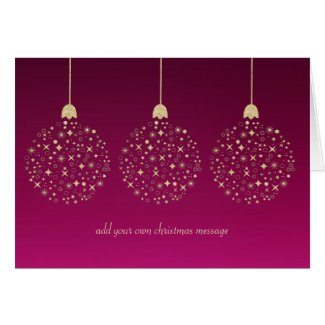 Faux Glitter Christmas Baubles | Greetings Card