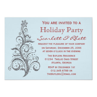 Faux Glitter Christmas Tree Holiday Party Card