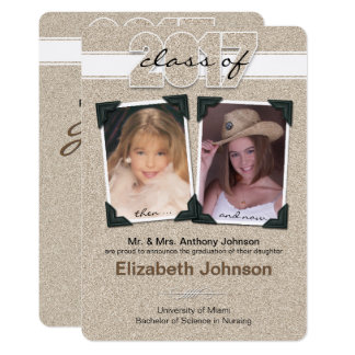 Faux Glitter Class of 2017 Graduation Then and Now Card