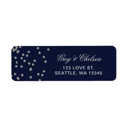 FAUX Glitter confetti navy and silver wedding Return Address Label