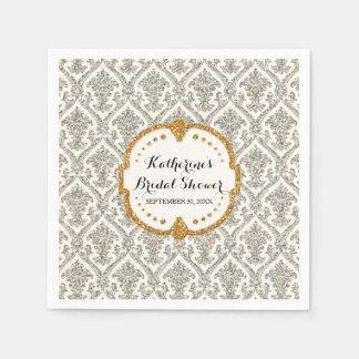 Faux Glitter Damask Bridal Shower Party Decor Disposable Napkins