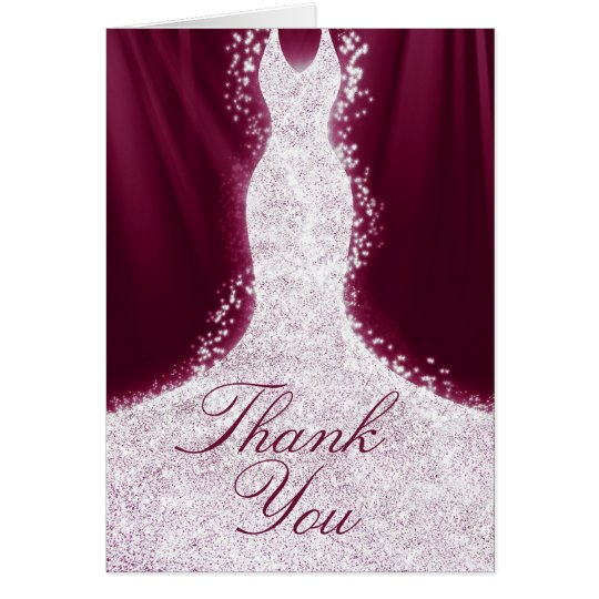 Faux Glitter Dress on Burgundy Thank You Note Card