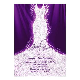 Faux Glitter Dress Purple Bridal Shower Invite