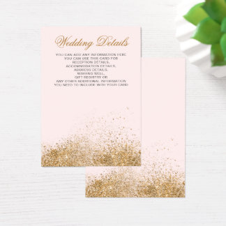 FAUX Glitter Dust Blush & gold Wedding enclosure Business Card