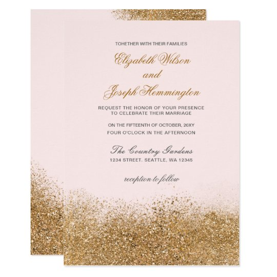 FAUX Glitter Dust Blush & gold Wedding Invitations