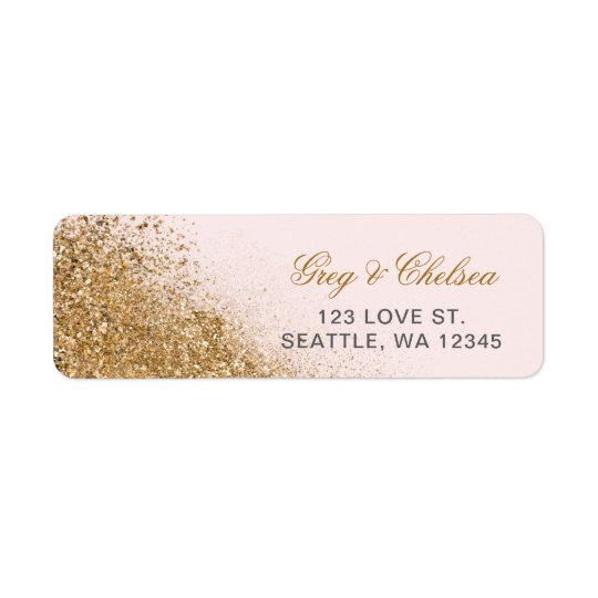 FAUX Glitter Dust Blush & gold Wedding Return Address Label