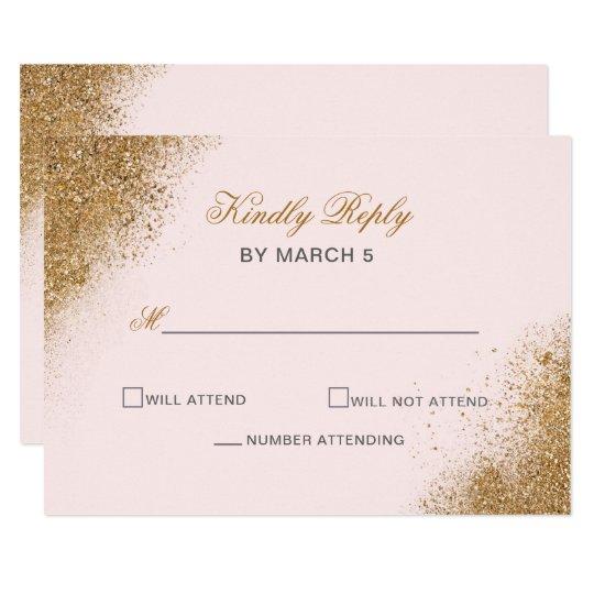 FAUX Glitter Dust Blush & gold Wedding rsvp