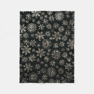 Faux Glitter - Floral Fleece Blanket
