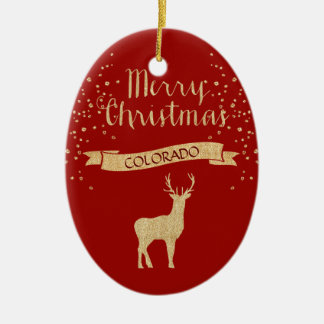 Faux Glitter Gold Elk Colorado Christmas Ornament