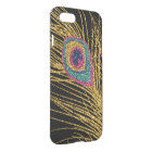 Faux Glitter Gold Peacock Feathers iPhone 8/7 Case