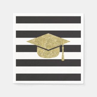 Faux Glitter Graduation Cap Paper Napkins