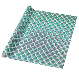 faux glitter mermaid scale pattern wrapping paper