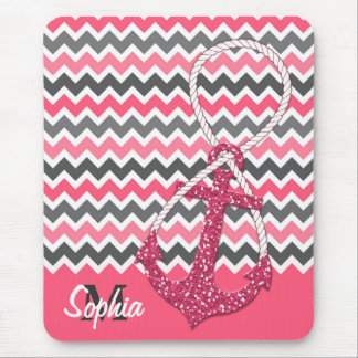 faux glitter nautical anchor infinity symbol mouse pad