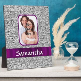 Faux glitter photo background plaque