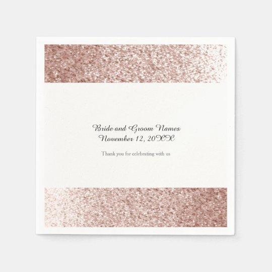Faux Glitter Rose Gold Paper Serviettes