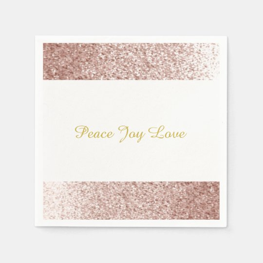 Faux Glitter Rose Gold Peace Joy Love Disposable