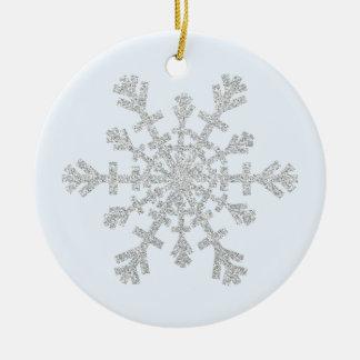 Faux Glitter Silver Snowflake on Pastel Blue Round Ceramic Decoration